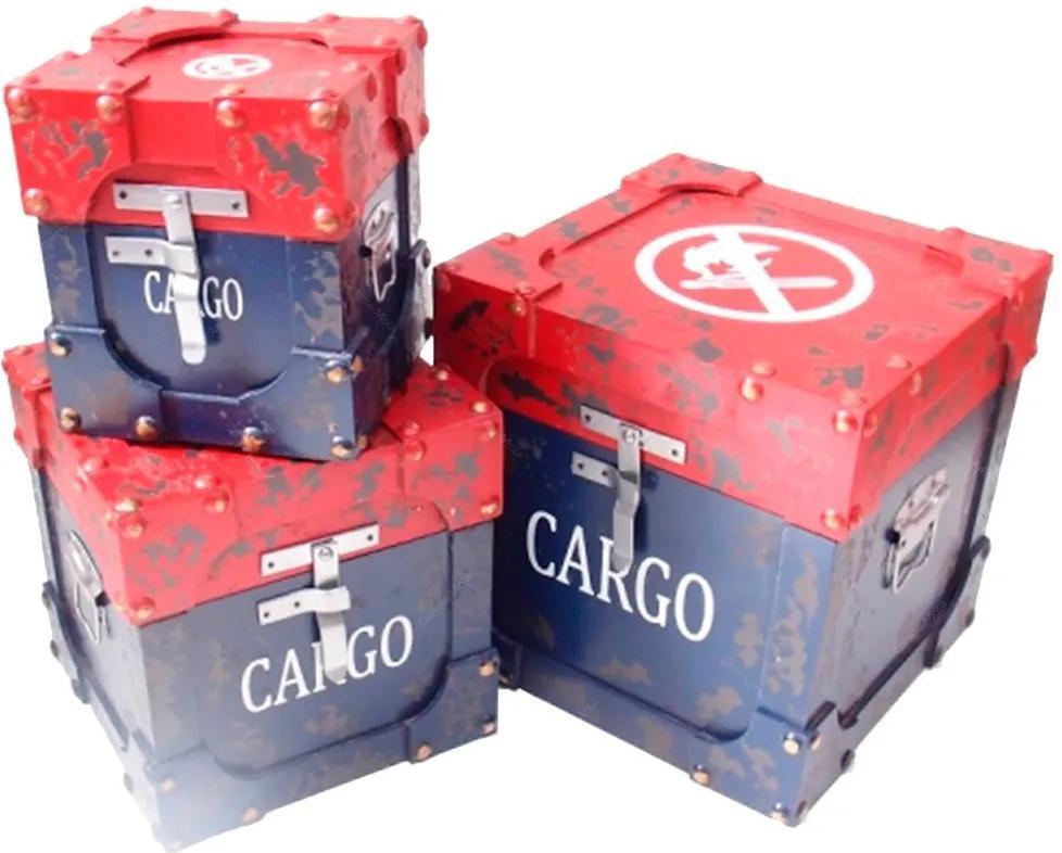 Conjunto Baús Cargo - 3 peças - Shabby Chic Azul e Vermelho em MDF