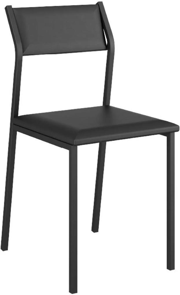 Cadeira Tubo Preto Napa Preta Carraro