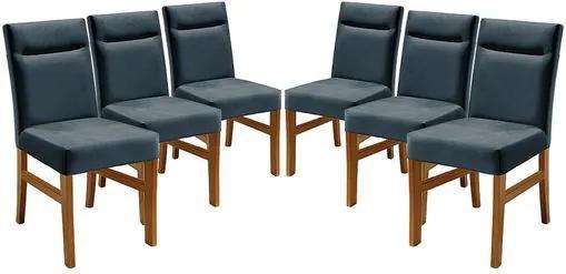 Kit 6 Cadeiras de Jantar Estofada Azul em Veludo Temel