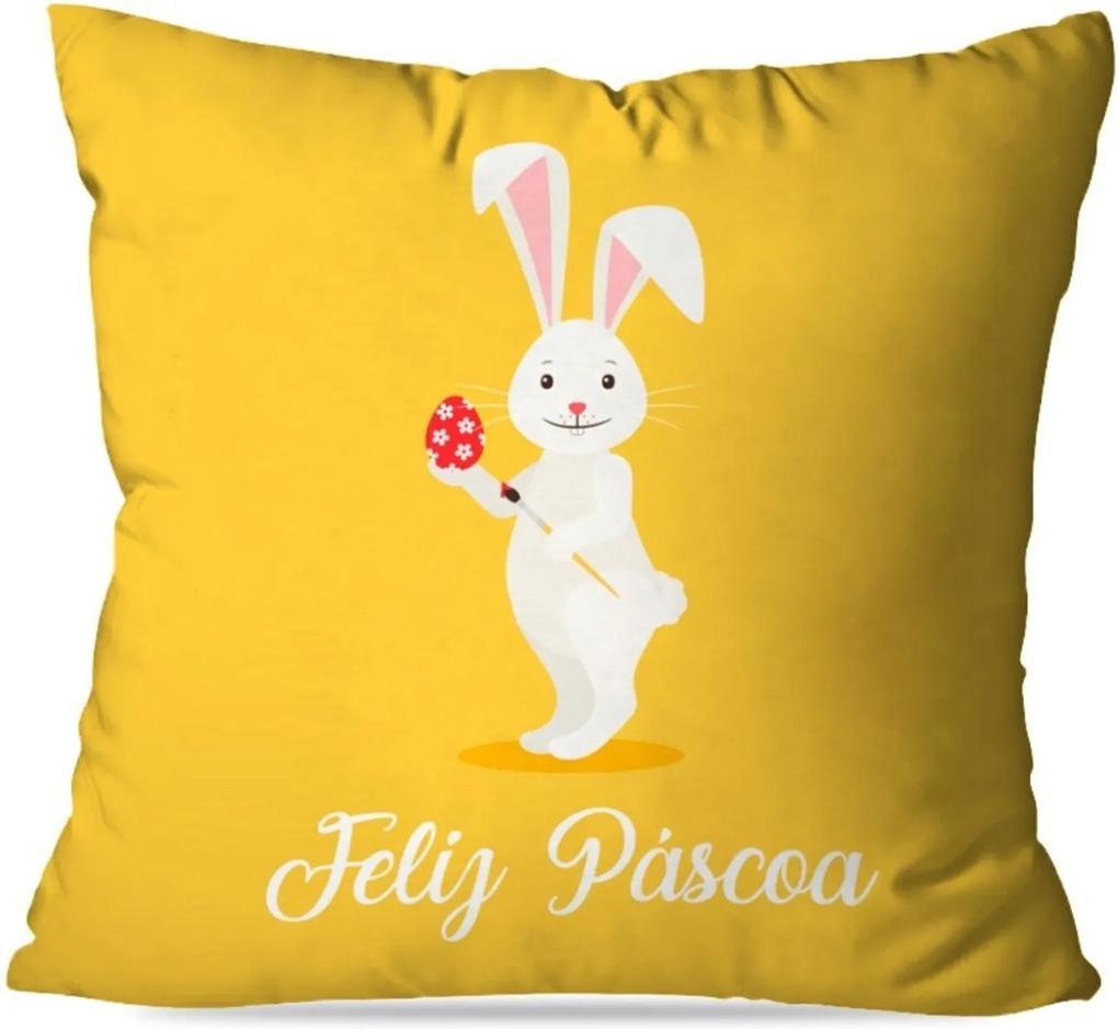 Capa de Almofada Feliz Páscoa Amarelo 45X45cm