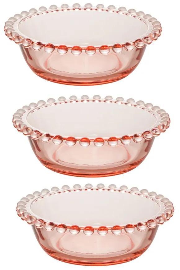 Jogo Bowls Cristal 3 Peças Pearl Rosa 14x5cm 28440 Wolff