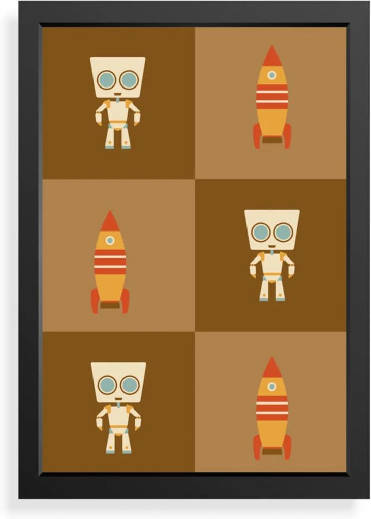 Quadro Love Decor Decorativo Infantil Robô com Foguetes