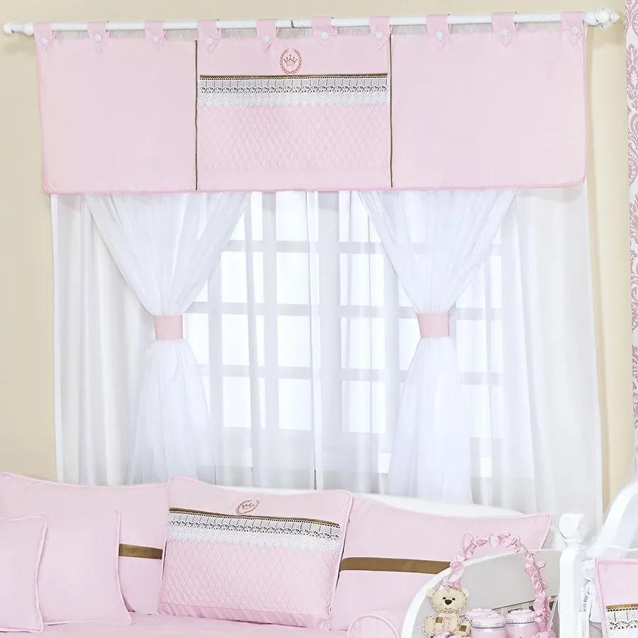 Cortina Quarto de Bebê Coroa Rosa 5 Peças