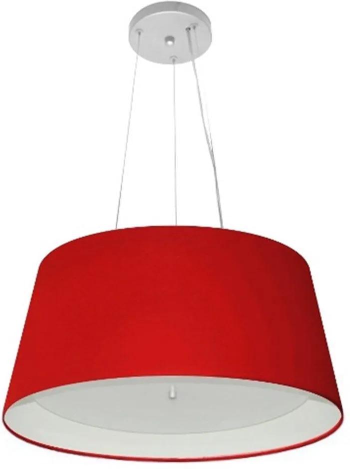 Lustre Pendente Cone Md-4144 Cúpula Forrada em Tecido 25x50x40cm Vermelho - Bivolt
