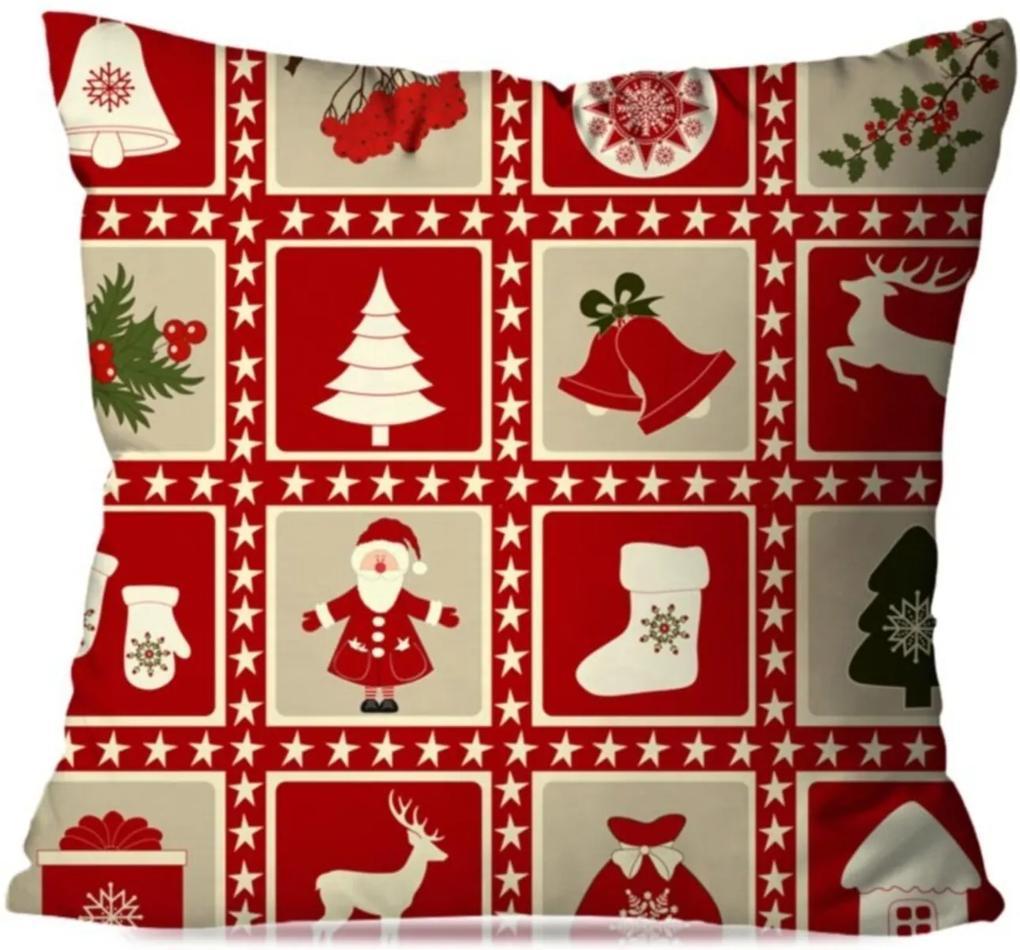 Capa de Almofada Avulsa Decorativa Lembranças de Natal 35x35cm