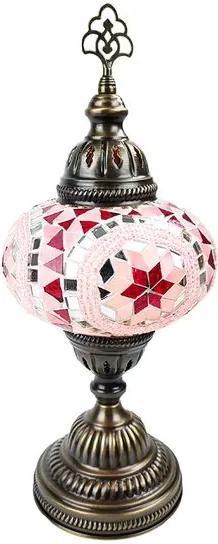 Abajur Turco c/ Mosaico Rosa 37cm