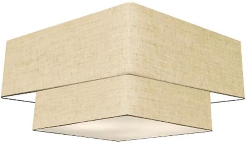 Plafon Duplo Quadrado Md-3022 Cúpula em Tecido 25/50x35cm Rustico Bege - Bivolt