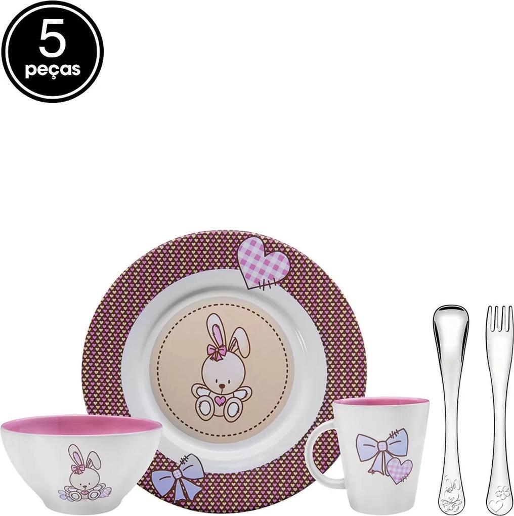 Jogo De Jantar Infantil 5 Pçs Porcelana Le Petit Rosa Tramontina