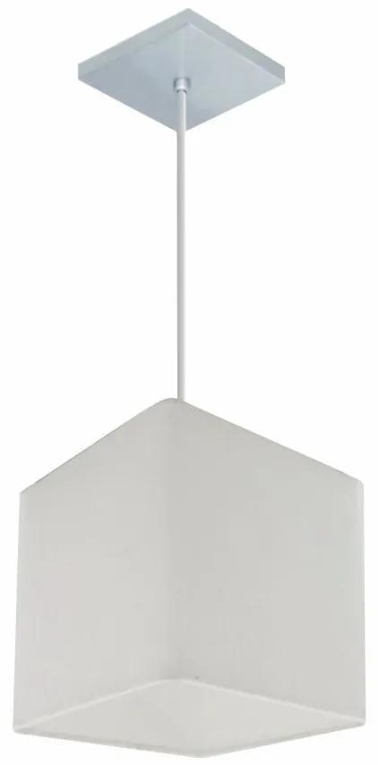 Lustre Pendente Quadrado Vivare Md-4224 Cúpula em Tecido 16/16x16cm - Bivolt - Branco - 110V/220V (Bivolt)