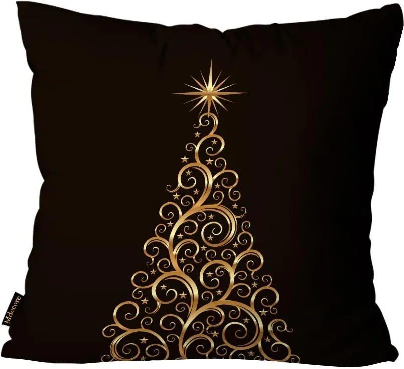 Capa para Almofada Premium Cetim Mdecore Natal Arvore de Natal Preta45x45cm