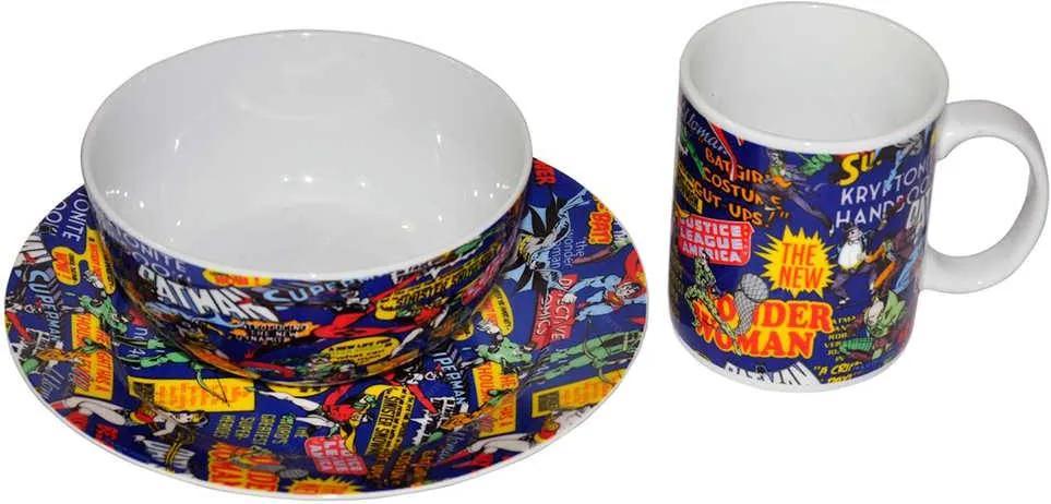 Conjunto Breakfast DC Comics Super Heroes 3 Peças em Porcelana - Urban
