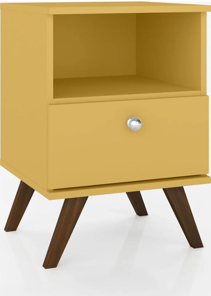 Mesa de Cabeceira C/1 Gaveta Móvel Bento Amarelo