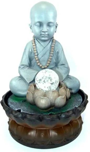 Fonte de Água Monge Tibetano Meditando em Resina com Esfera de Vidro (28cm)
