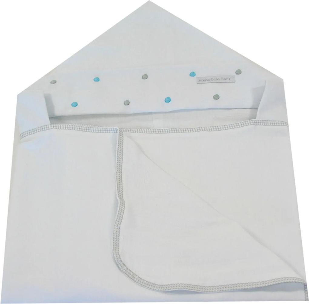 Toalha de Banho em Malha com Capuz Forrada em Fralda Minha Casa Baby TBC3031/4T Poá Cinza,