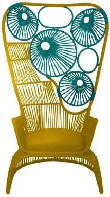 Poltrona Catarina de Corda Amarela e Verde