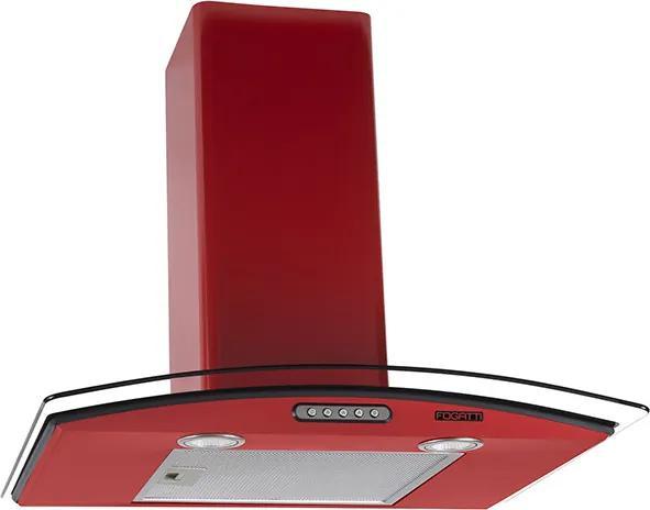 Coifa em Vidro Curvo Slim Vermelho de 60 cm - 127 Volts
