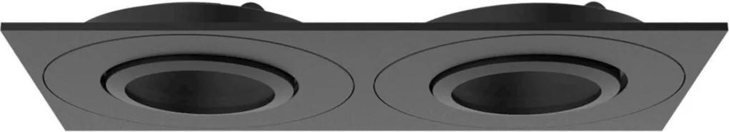 Plafon Embutir Aluminio Preto Par20 E27 Face Plana Dupla