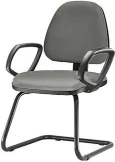 Cadeira Sky com Bracos Fixos Assento Crepe Cinza Escuro Base Fixa Preta - 54831 Sun House