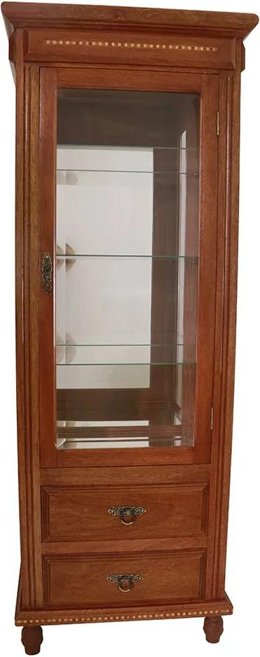 Cristaleira Estilo Madeira Rustica com Interior Espelhado 2 Gavetas - 180x67x46