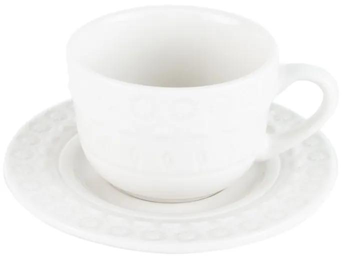Jogo Xícaras Café Porcelana Com Pires 4 Peças Grace Branco 80ml 17578 Wolff