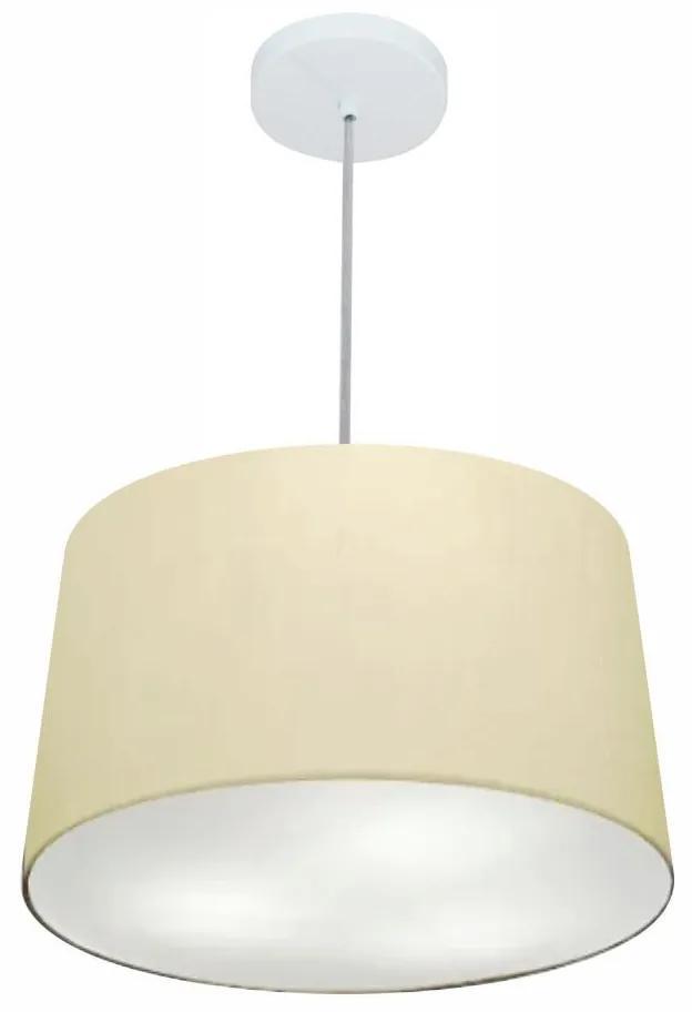 Lustre Pendente Cone Md-4247 Cúpula em Tecido 30/45x40cm Algodão Crú - Bivolt