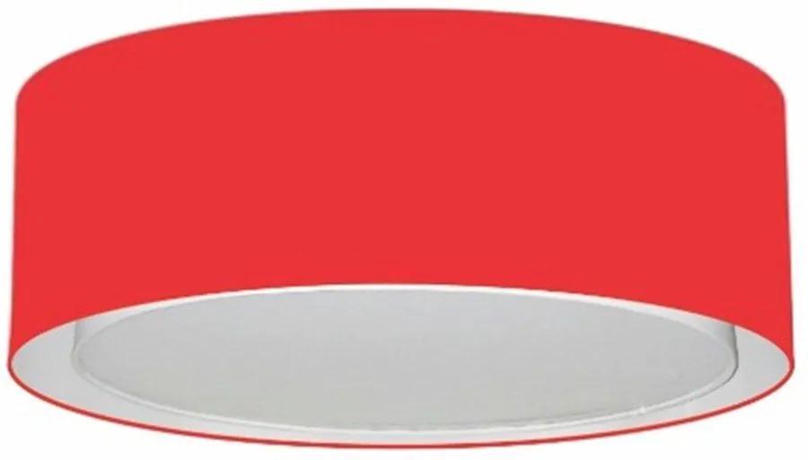 Plafon Duplo Cilíndrico Md-3038 Cúpula em Tecido 80x30cm Vermelho - Bivolt