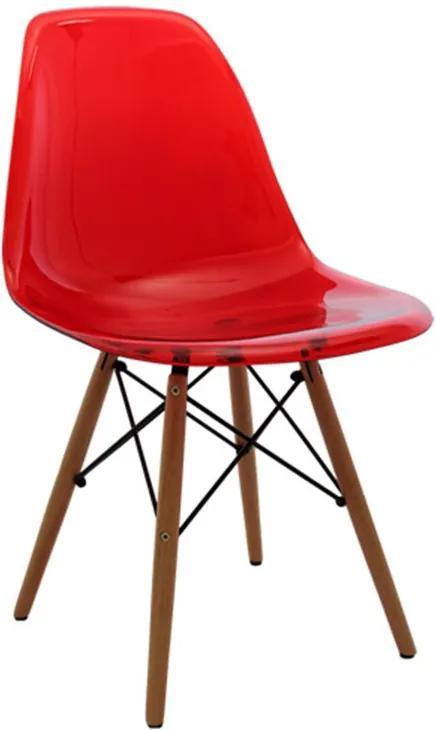 Cadeira Megral com Estrutura de Madeira e Assento em Policarbonato
