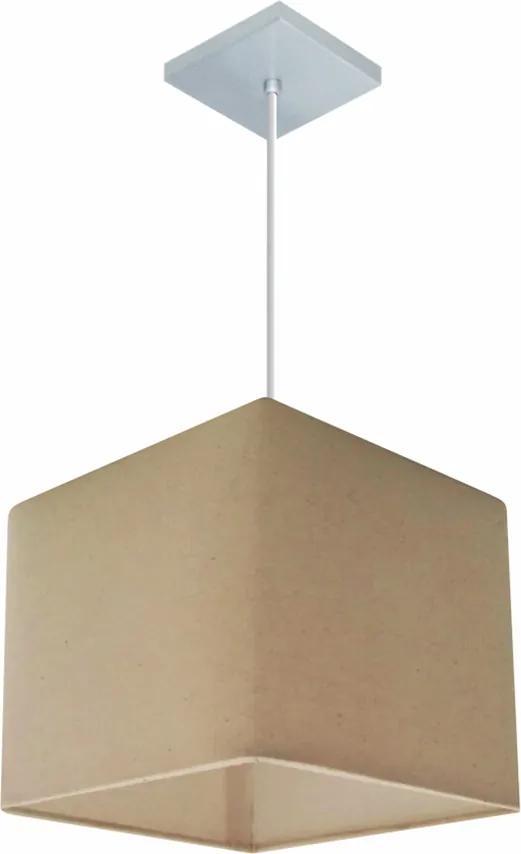 Lustre Pendente Quadrado Md-4058 Cúpula em Tecido 21/25x25cm Algodão Crú - Bivolt