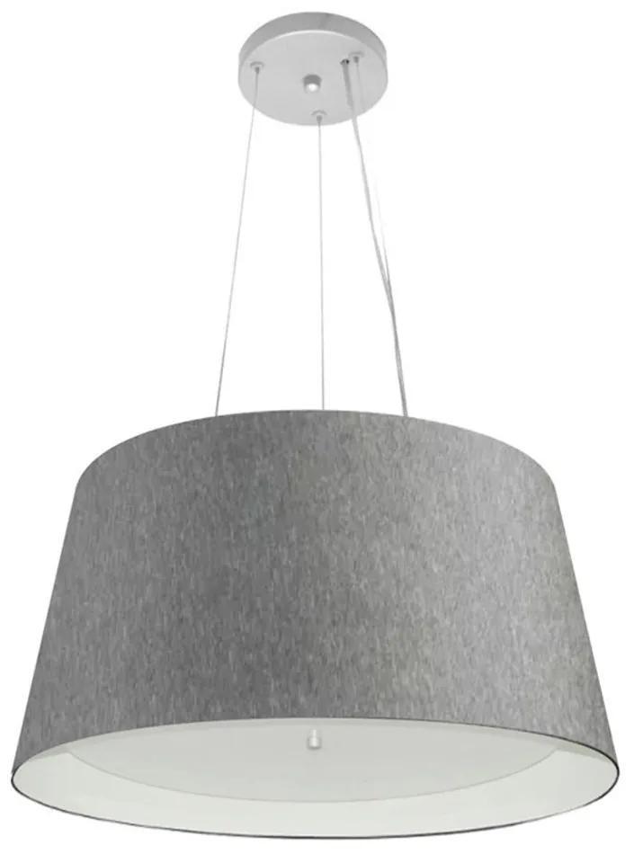 Lustre Pendente Cone Md-4144 Cúpula Forrada em Tecido 25x50x40cm Rustico Cinza / Branco - Bivolt
