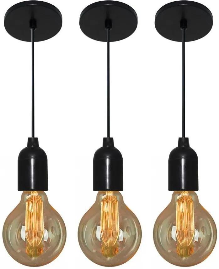Kit/3 Luminária Pendente Retro Md-4149 Suporte Para Lâmpada / Não Inclusa - Bivolt