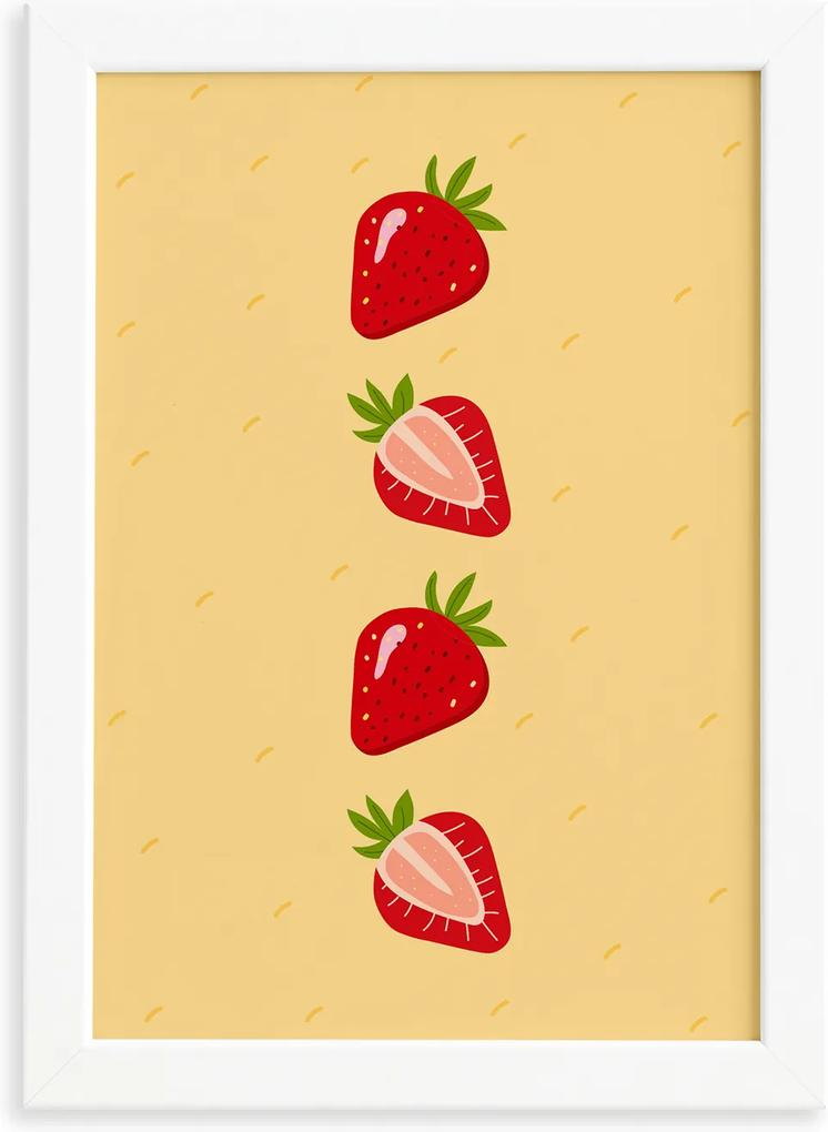 Quadro Frutas Coloridas Morangos Moldura Branca 33x43cm