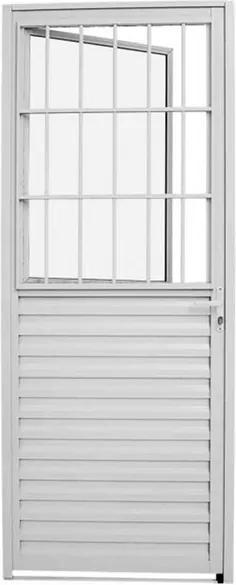 Porta Social de Abrir com Postigo Alumínio Branco Alumifit Esquerda 215x87x3,15cm - 78601043 - Sasazaki - Sasazaki
