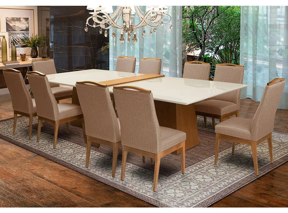 Conjunto 2 Mesa Luiza Off White 1,35 m + Aparador Luiza  + Cadeiras Lara Linho/Poliéster Marrom 10 Lugares