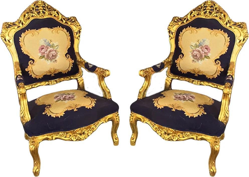 Par de Poltronas Clássica Azul Luis XV Folheada a Ouro