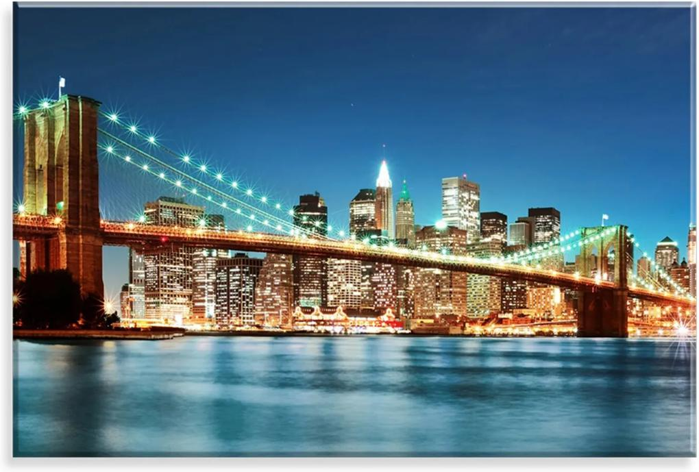Tela Decorativa em Canvas Love Decor Ponte do Brooklyn Multicolorido 90x60cm