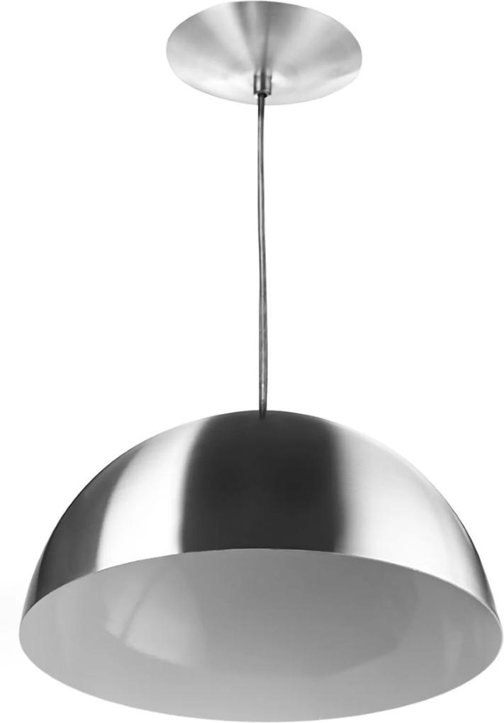 Lustre Pendente Meia Lua 40cm Alumínio New Escovado