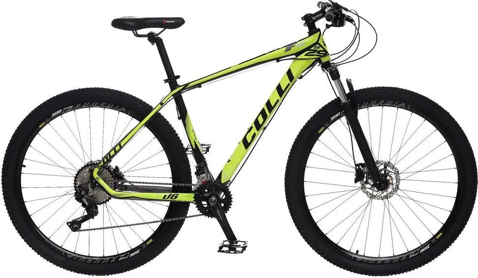 Bicicleta Esportiva Aro 29 Deore Shimano Suspensão Freio a Disco F11 Quadro 18 Alumínio Preto/Amarelo - Colli Bike