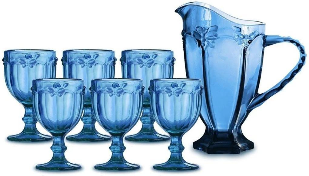 Jarra 1L + 6 Taças para Água Libélula Azul