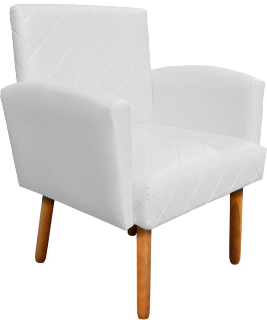 Poltrona Decorativa Veronês para Sala e Recepção Corino Branco - D'Rossi