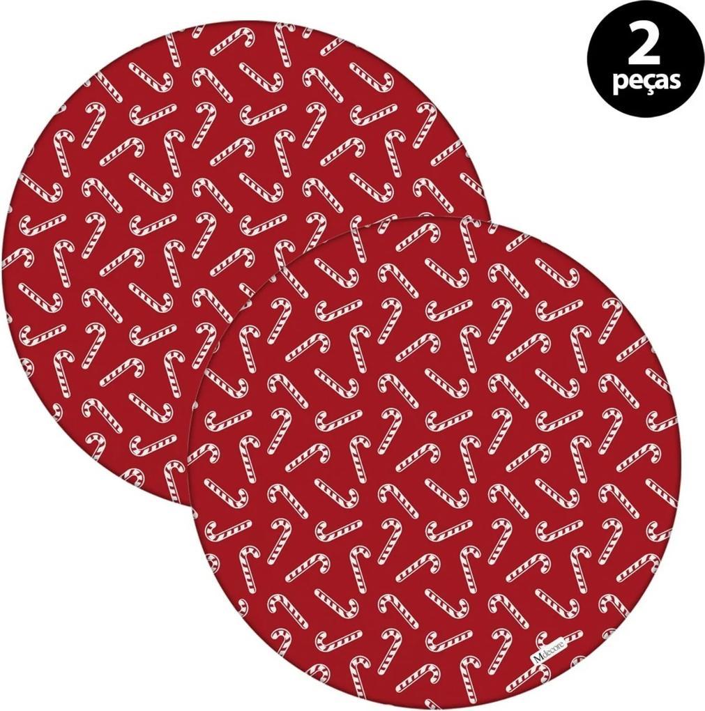 Sousplat Mdecore Natal Bengala 32x32cm Vermelho 2pçs