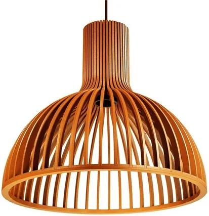 Luminária Pendente Cuma em Madeira   Soq: E27   Tam: 45cm   Cor: Caramelo