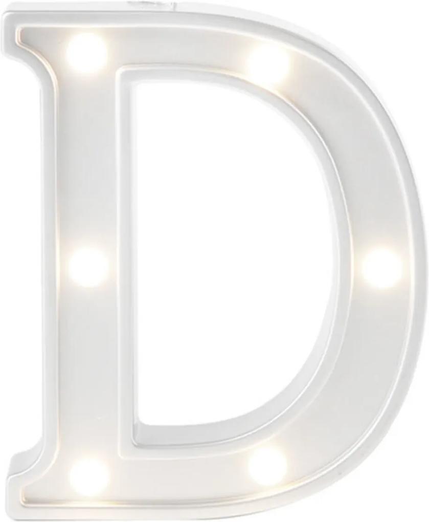 Mini Luminária Adoraria Letra Led D Luminosa Branco