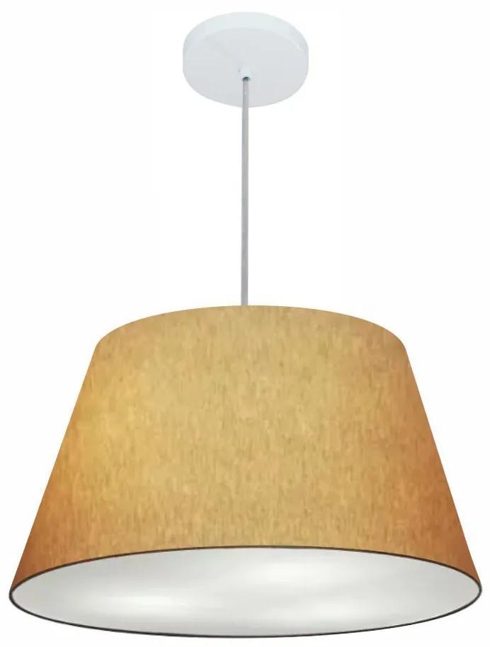 Lustre Pendente Cone Md-4249 Cúpula em Tecido 30/50x35cm Palha - Bivolt