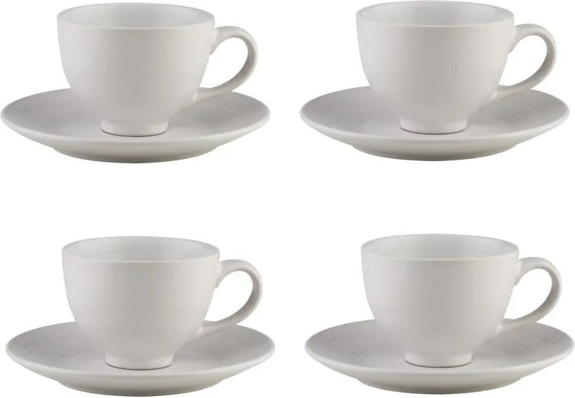 Jogo Xícaras Para Chá 4 Peças Com Pires Cerâmica Branco 195ml 27853 Bon Gourmet