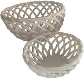 Conjunto de Cestos de Cerâmica Branca 2 peças