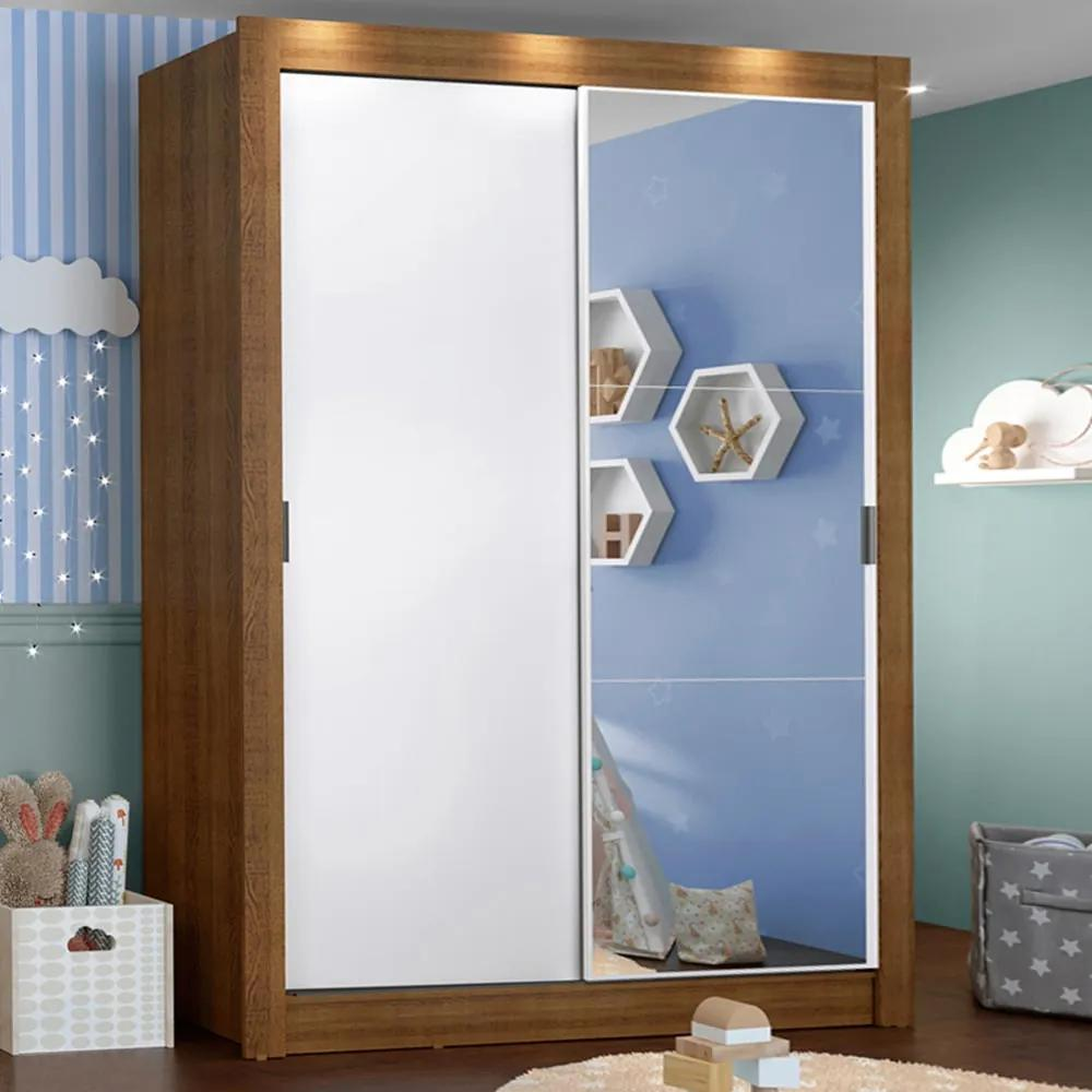 Guarda-Roupa Infantil Madesa Bento 2 Portas de Correr com Espelho 2 Gavetas Rustic/Branco Cor:Rustic/Branco