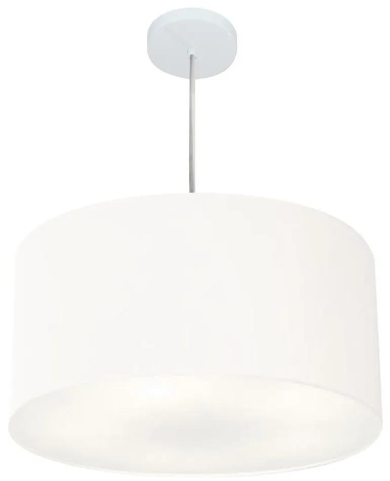 Lustre Pendente Cilíndrico Md-4213 Cúpula em Tecido 50x30cm Branco - Bivolt