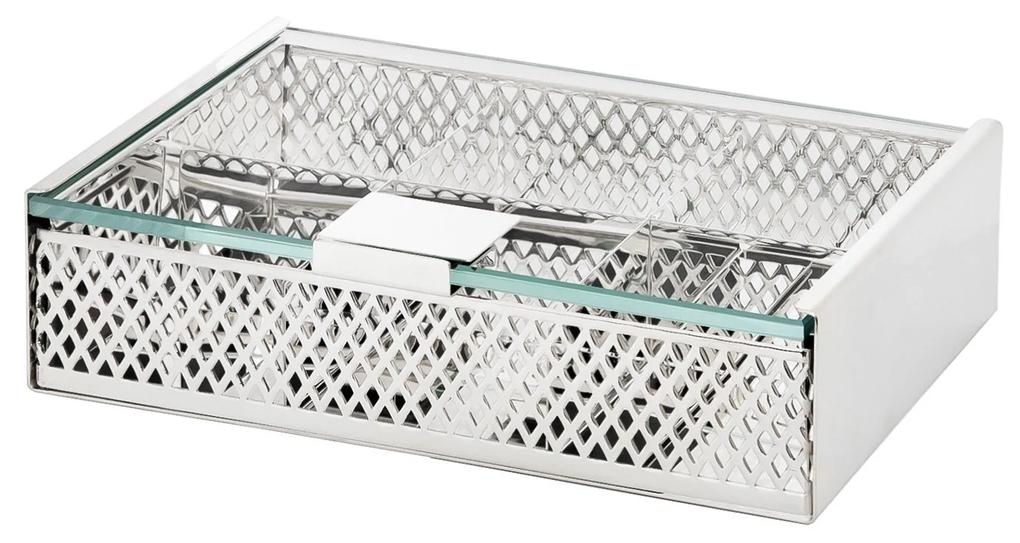 Caixa de Chá Rendada - Prata  Prata