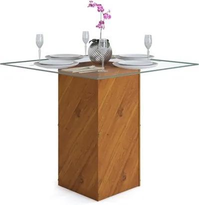 Mesa para Sala de Jantar Formosa Tampo Vidro Terrara - Dj Móveis