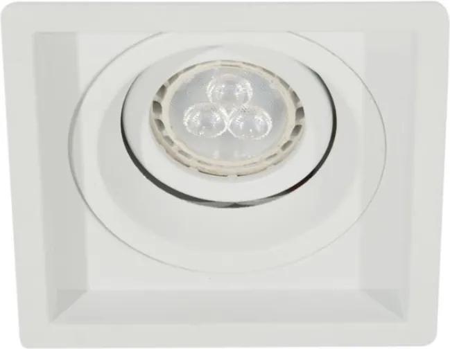 Plafon Embutir Aluminio Branco Mini Dicroica Gu10 Recuado